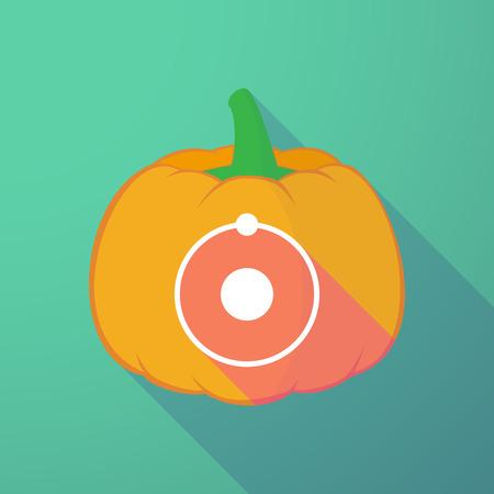 Illustration of a long shadow halloween pumpkin with an atom