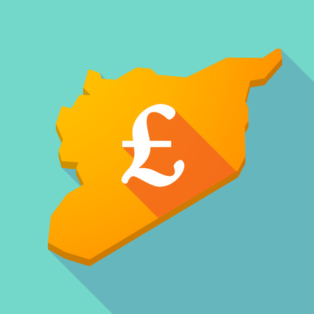 pound sign: Illustration of a long shadow Syria map with a pound sign