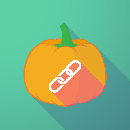 hyperlink: Illustration of a long shadow halloween pumpkin with a chain Illustration