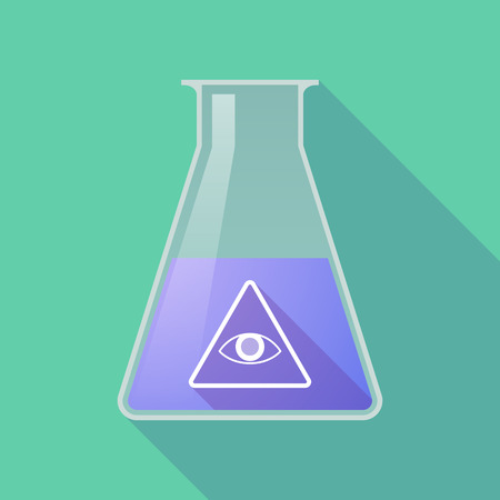 all seeing eye: Illustration of a long shadow chemical flask with an all seeing eye Illustration