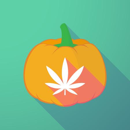 ganja: Illustration of a long shadow halloween pumpkin with a marijuana leaf Illustration