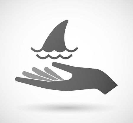 fin: Illustration of an isolated hand giving a shark fin