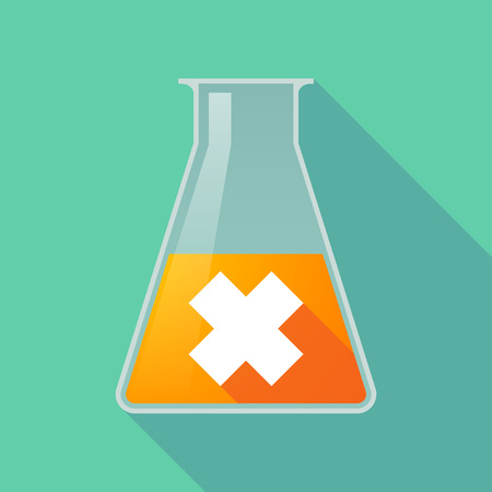 caution chemistry: Illustration of a long shadow chemical flask with an irritating substance sign Illustration