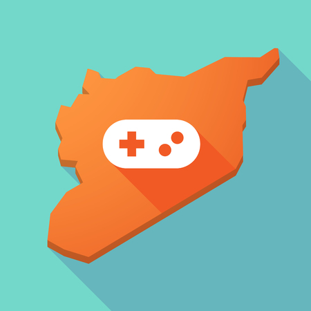 game pad: Illustration of a long shadow Syria map with a game pad Illustration