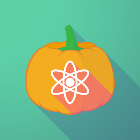 nuclear fear: Illustration of a long shadow halloween pumpkin with an atom