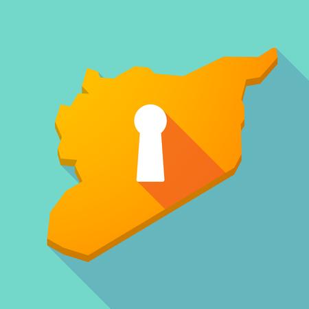 key hole: Illustration of a long shadow Syria map with a key hole