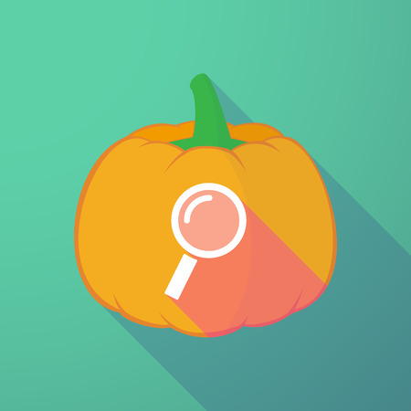 night vision: Illustration of a long shadow halloween pumpkin with a magnifier