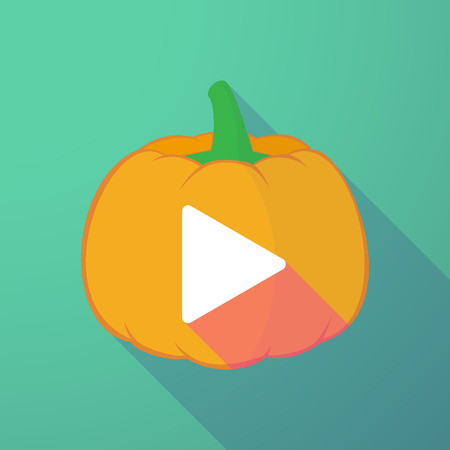 long play: Illustration of a long shadow halloween pumpkin with a play sign Illustration