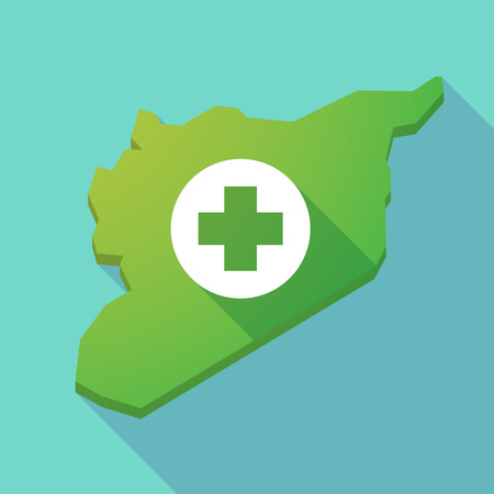 pharmacy sign: Illustration of a long shadow Syria map with a round pharmacy sign