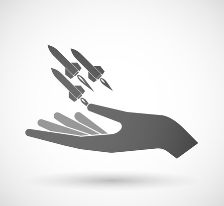 ballistic missile: Illustration of an isolated hand giving missiles Illustration