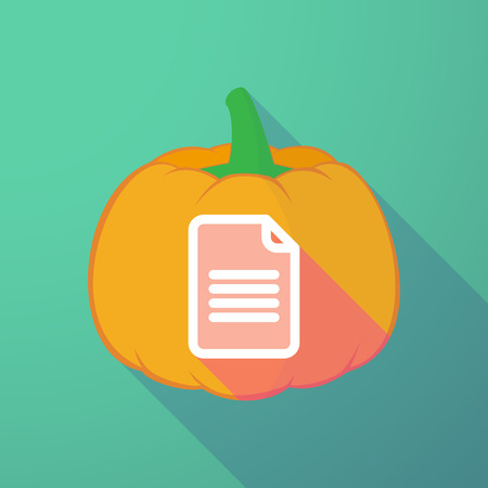 long night: Illustration of a long shadow halloween pumpkin with a document