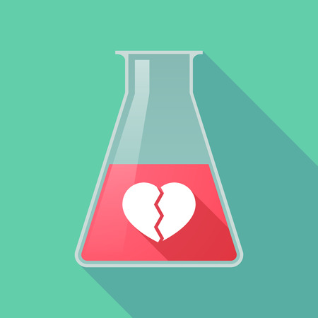 Illustration of a long shadow chemical flask with a broken heart Illustration