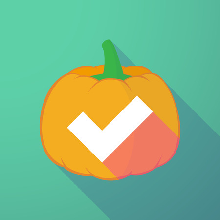 long night: Illustration of a long shadow halloween pumpkin with a check mark Illustration