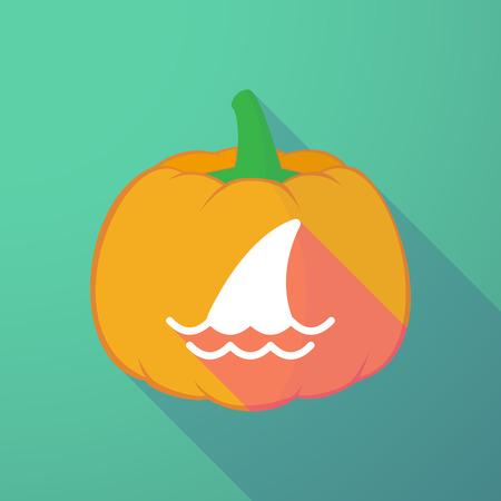 shark: Illustration of a long shadow halloween pumpkin with a shark fin