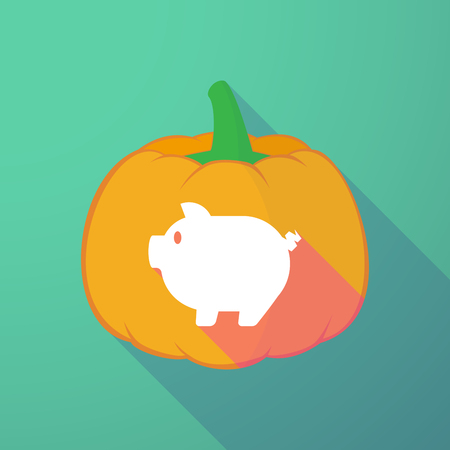 bacon night: Illustration of a long shadow halloween pumpkin with a pig