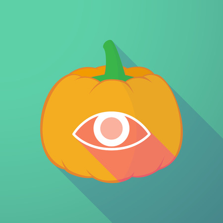 night vision: Illustration of a long shadow halloween pumpkin with an eye Illustration