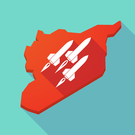 missiles: Illustration of a long shadow Syria map with missiles