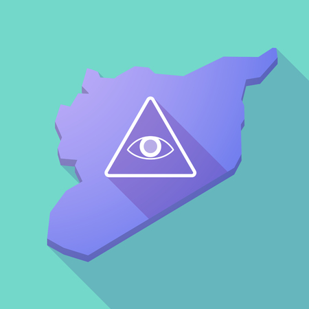 seeing: Illustration of a long shadow Syria map with an all seeing eye Illustration