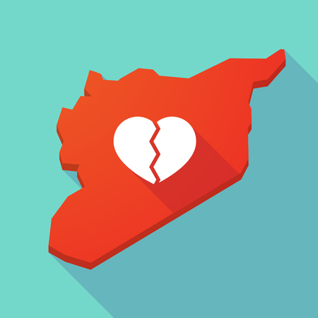 breakup: Illustration of a long shadow Syria map with a broken heart