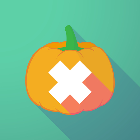 corrosive poison: Illustration of a long shadow halloween pumpkin with an irritating substance sign