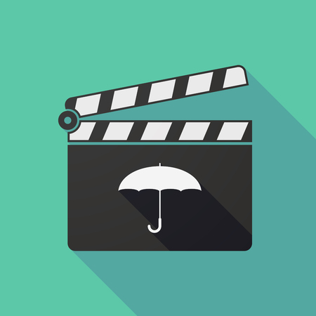 slate film: Illustration of a long shadow clapper board with an umbrella Illustration