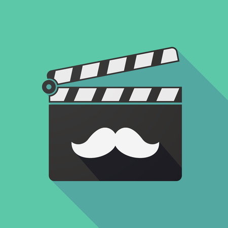slate film: Illustration of a long shadow clapper board with a moustache