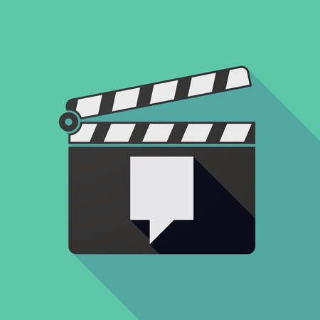 users video: Illustration of a long shadow clapper board with a tooltip Illustration