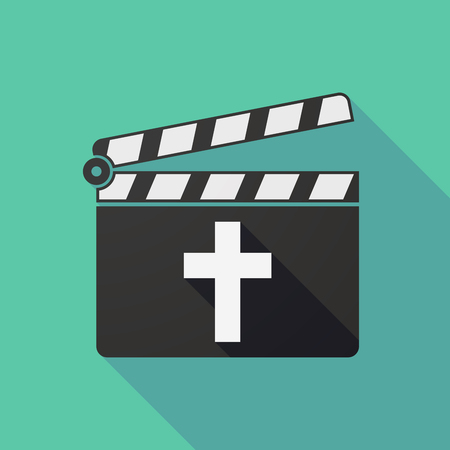 Illustration of a long shadow clapper board with a christian cross