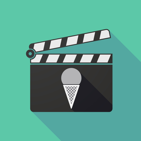 Illustration of a long shadow clapper board with a cone ice cream