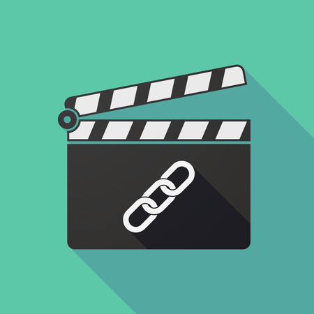 slate film: Illustration of a long shadow clapper board with a chain