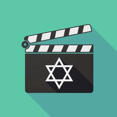 jews: Illustration of a long shadow clapper board with a David star Illustration