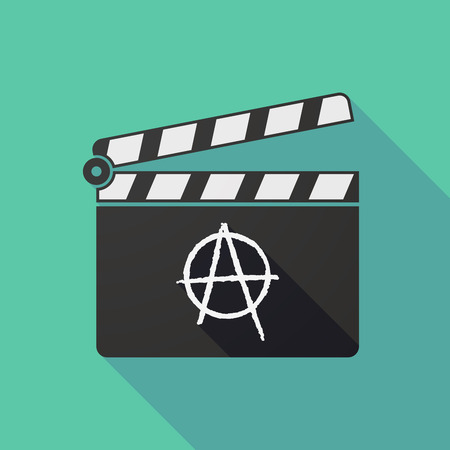 anarchy: Illustration of a long shadow clapper board with an anarchy sign