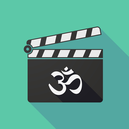 zen aum: Illustration of a long shadow clapper board with an om sign
