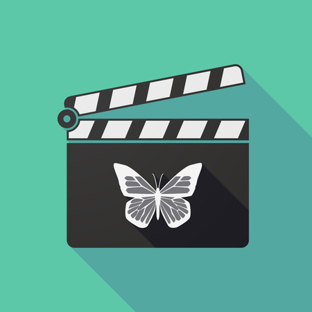 clapper board: Illustration of a long shadow clapper board with a butterfly Illustration