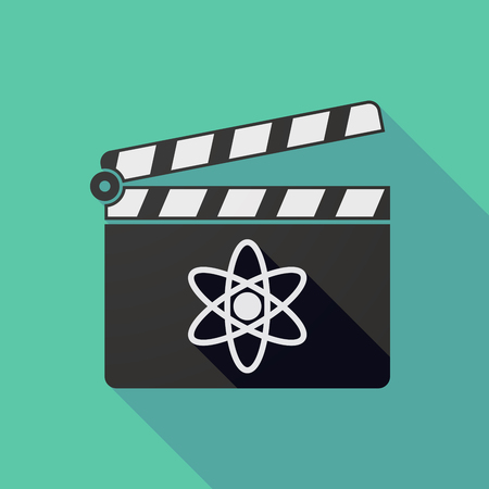 nuclear fusion: Illustration of a long shadow clapper board with an atom