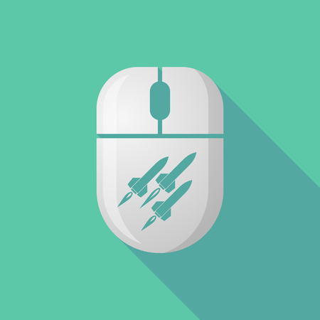 missiles: Illustration of a wireless long shadow mouse icon with missiles Illustration