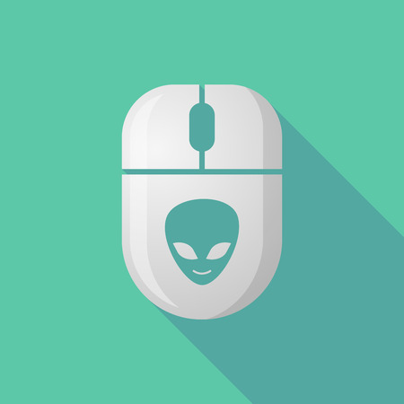 alien face: Illustration of a wireless long shadow mouse icon with an alien face