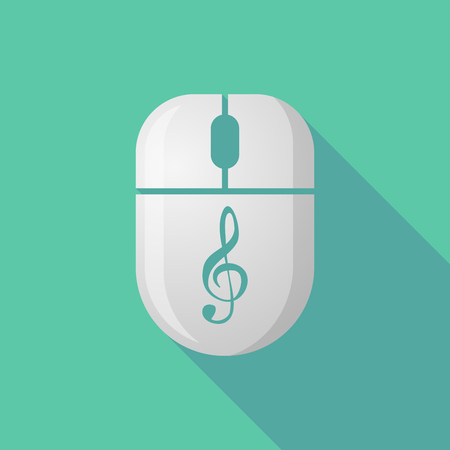 pc tune: Illustration of a wireless long shadow mouse icon with a g clef Illustration