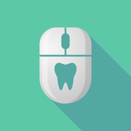 cordless: Illustration of a wireless long shadow mouse icon with a tooth