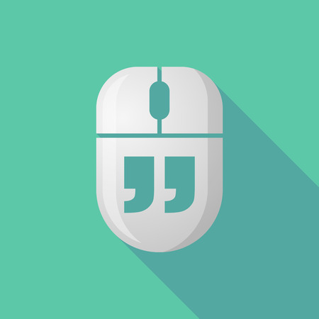 double click: Illustration of a wireless long shadow mouse icon with  quotes