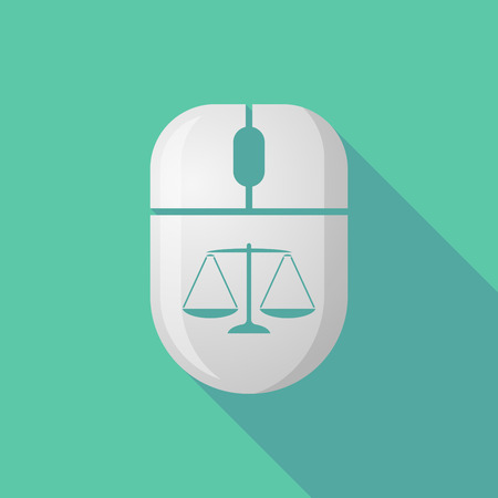tribunal: Illustration of a wireless long shadow mouse icon with a justice weight scale sign Illustration