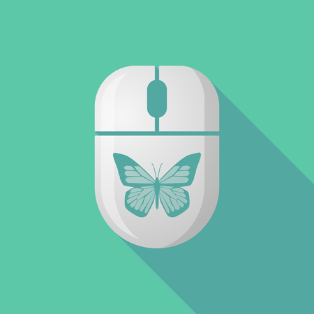 cordless: Illustration of a wireless long shadow mouse icon with a butterfly