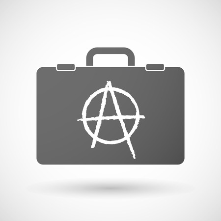 anarchy: Illustration of an isolated briefcase icon with an anarchy sign