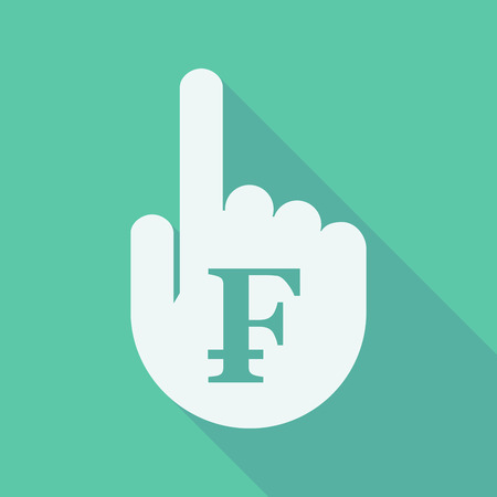swiss franc: Illustration of a long shadow pointing finger hand with a swiss franc sign