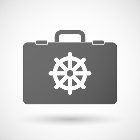 dharma: Illustration of an isolated briefcase icon with a dharma chakra sign