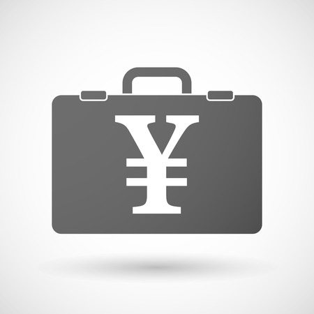 yen sign: Illustration of an isolated briefcase icon with a yen sign
