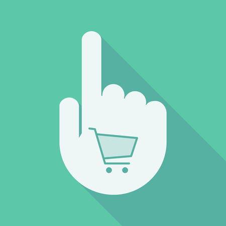 hand cart: Illustration of a long shadow pointing finger hand with a shopping cart