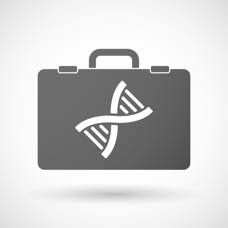 transgenic: Illustration of an isolated briefcase icon with a DNA sign