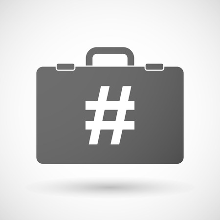 hash: Illustration of an isolated briefcase icon with a hash tag