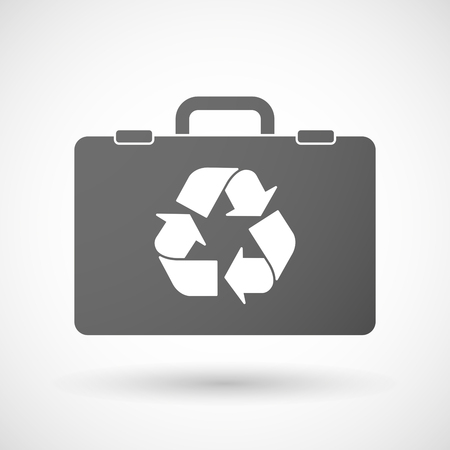 cycle suit: Illustration of an isolated briefcase icon with a recycle sign